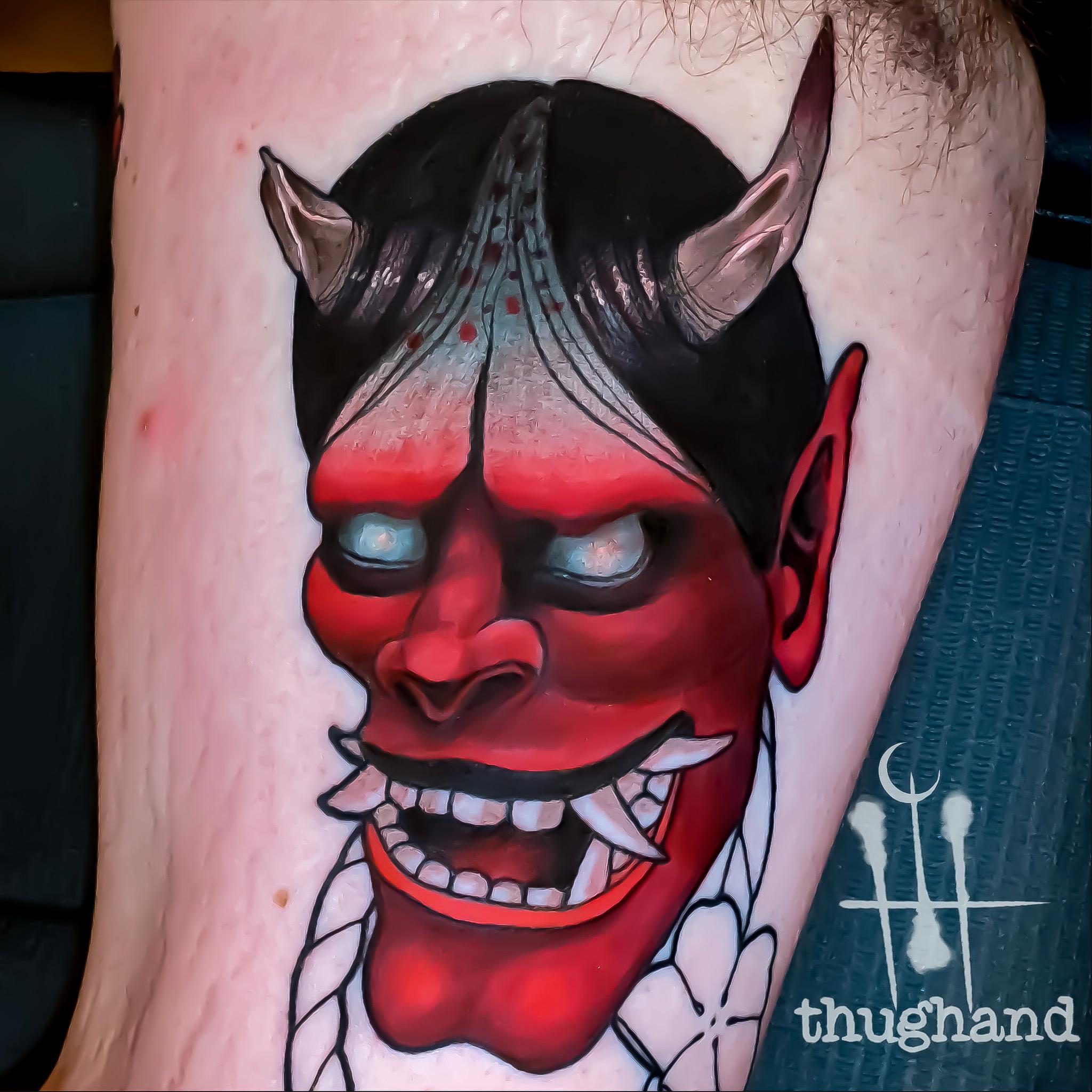 hannya mask - Tattoo by Doug Hand #DougHand #illustrative #neotrad #neotraditional #philly #philadelphia #japanese #irezumi #hannya