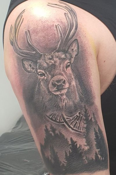 Epic Stag for the Fraser Clan with it being part of my DNA First Tattoo and hurt like fuck #stag #forest #dna #firsttattoo #upperarm