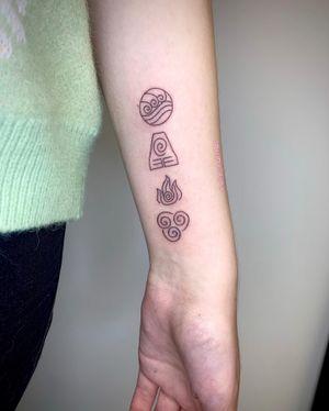 Hand-poked Avatar The Last Airbender Elemental Symbols by Pokeyhontas @ KTREW Tattoo - Birmingham, UK #handpoke #stickandpoke #stickandpoketattoo #avatar #airbender #elemental #symboltattoo #forearmtattoo
