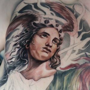 Lady Justice Massive chest piece in progress! #chesttattoo #chesttattoos #ladyjustice #justice #fullcolor #fullcolortattoo #epictattoo #wandaltattoo