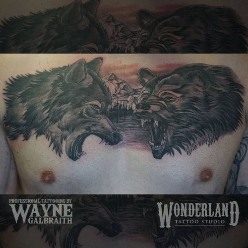 Here's a killa wolf and bear tattoo I did a while back, can't believe it happened in one session!