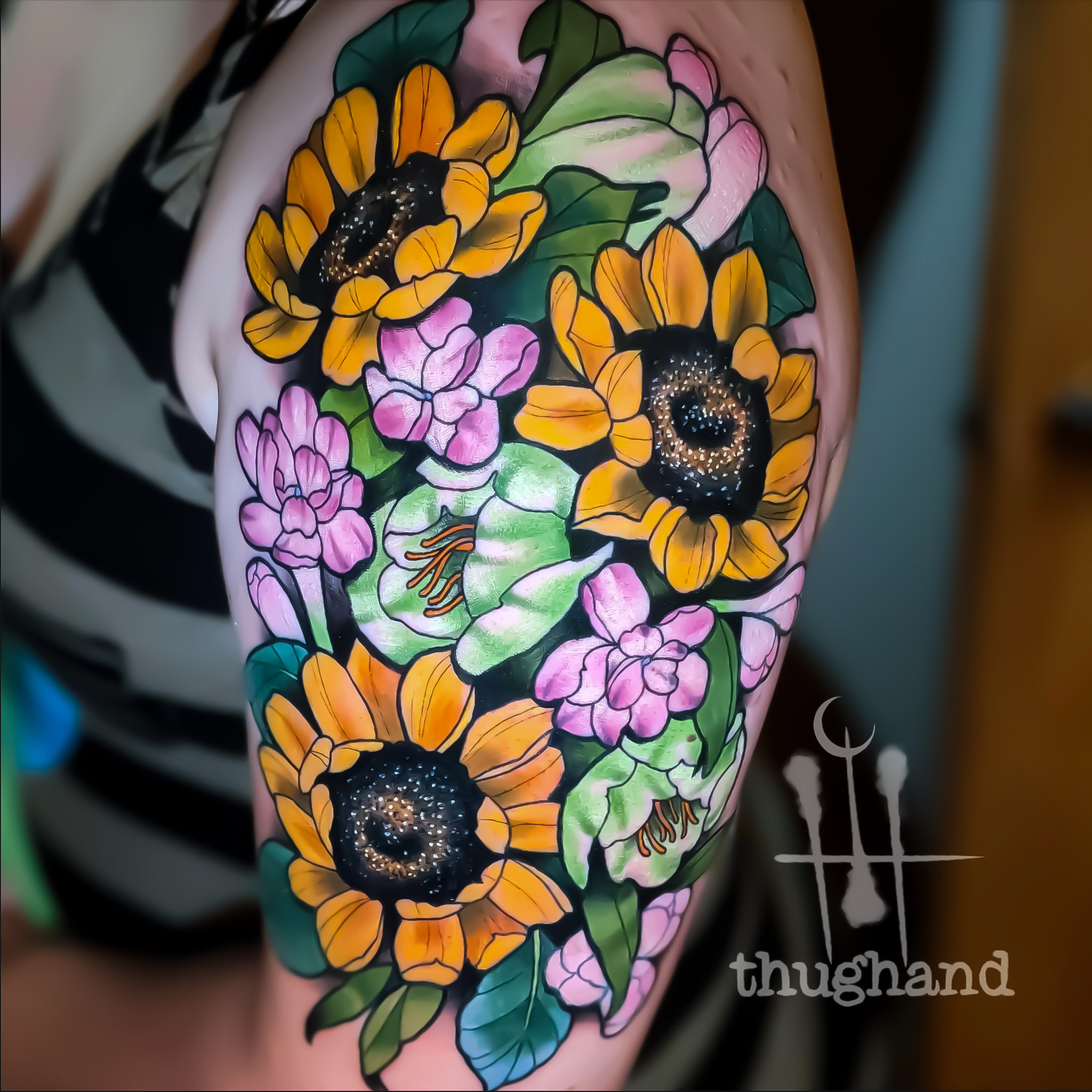 Inspired by her wedding bouquet - Tattoo by Doug Hand #DougHand #illustrative #philly #philadelphia #neotrad #neotraditional
