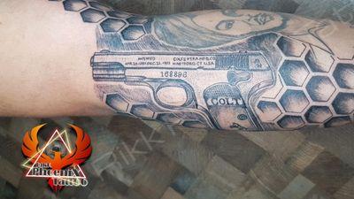 168896, patented April 20, 1897 and manufactured on December 22, 1903 by Colt's PT FA Mfg Co, Hartford CT, USA was the one which was used by Bhagat Singh to shoot John Saunders, the Assistant Police Superintendent, outside the Punjab Civil Secretariat in Lahore on December 17, 1928. #bhagatsingh #colt #pistol #proudtobepunjabi #punjabi #historical #realstory #rajguru #sukhdev #bhagatsinghji #tattoo #tattoolife #tattoooftheyear #coltguns #1928 #hartford #usa #fullsleevetattoo #beehives #portrait #ink #inked #tattoodesign #power #motivation #elbowtattoo #punjab #fanofbhagatsingh