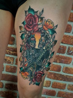 Rockabilly skelly couples tattoo