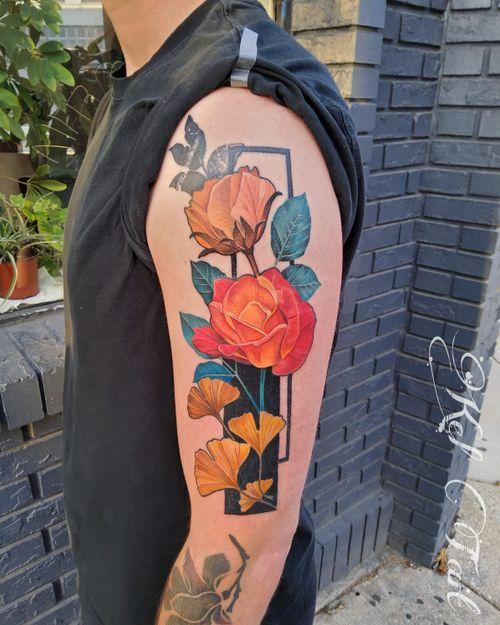 #watercolortattoo #gingkoleaves #gingkotattoo #roses #rosetattoo