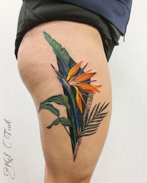 #birdofparadiseflower #geometrictattoo #flowertattoos #floraltattoo #botanicaltattoo #watercolortattoo