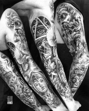 And there is the completely finished full sleeve for Jeff - Thx for the Trust. - #тату #рукав #trigram #tattoo #sleeve #inkedsense