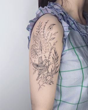 Nothingwild Paris 🌙 Bird with monstera leaf tattoo