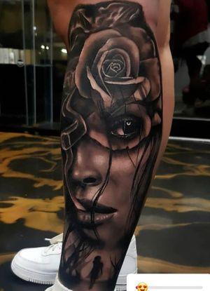 Double exposure morph tattoo
