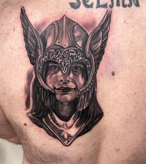 Valkyrie helmet on client s daughter 😎 Ig : @cemvikink  www.vikinktattoo.com