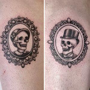 Meet Dotty & Larry, the most dapper skeleton married couple! Thanks Isabella for choosing some of my designs and for loving them as much I do 😃 #skeleton #skeletontattoo #cameotattoo #cameobroochtattoo #skulltattoo #blackworktattoos #skullswearinghats #femaletattooers