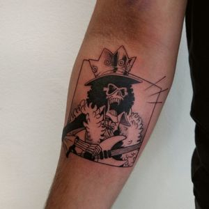 Brook from on piece, custom manga style tattoo for client.