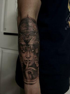 Custom sleeve #clydlaudato #liontattoo #gothictattoo #realistictattoo