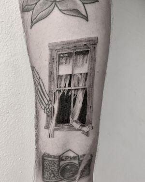 Illustrative tattoo by Jesus Antonio #JesusAntonio #illustrative #fineline #chicano #blackandgrey #window #horror #darkart