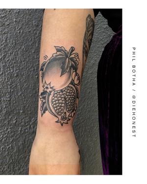 Punica Granatum . . . . #traditional #pomergranate #tattoo by @diehonest for @ghost.of.a.sheep . . . . WALK-INS WELCOME . . . DM: @kakluckytattoos Call - 021/422/2963 Email - info@kakluckytattoos.com . . . #tattoo #tattoos #kaapstad #capetown #kakluckytattoos #art #artistsoninstagram #art #capetowntattoo #bangers #smalltattoos #wedoitall #artist #mood #gettattooed #instagood #love #traditionaltattoos #boldwillhold #fruittattoo #pomergranatetattoo #lekker #inked