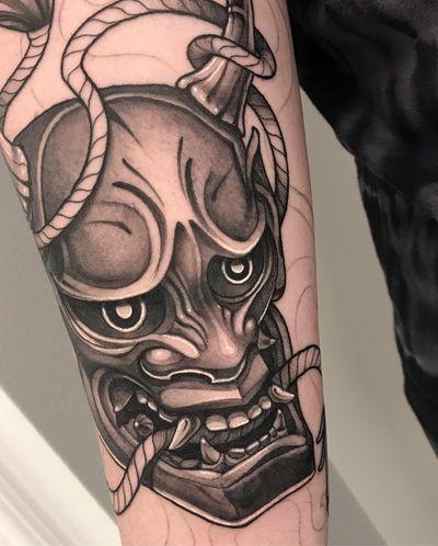 Hanya mask, start to a Japanese sleeve. . For bookings contact me via Insta @ladysky_tattoo #hanyamask #onimask #hanya #oni #japanese #japanesetattoo