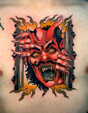 Demon coming out of hell tattoo