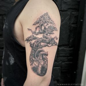 Juniper bonsai tree with its roots wrapped around a human heart. Visit www.Instagram.com/EmmaRidleyTattoo to see the photos in better quality and to book in.