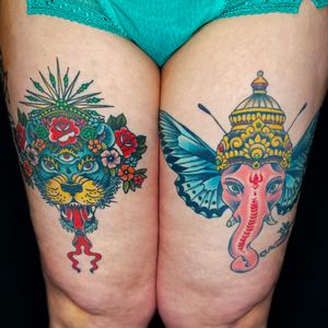 Recently healed galactic lioness with a long time healed Ganesh butterfly.  Mashup city.
