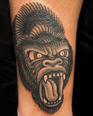 An angry gorilla.