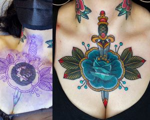 Cover ups always work better when a client is willing to go BIG.  Big blue rose with a dagger through it.