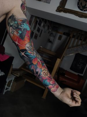 Next sleeve done, check my instagram @tondrik_tattoo for full view of this piece  Do not copy 🙌 #tondriktattoo #ucernekotvy