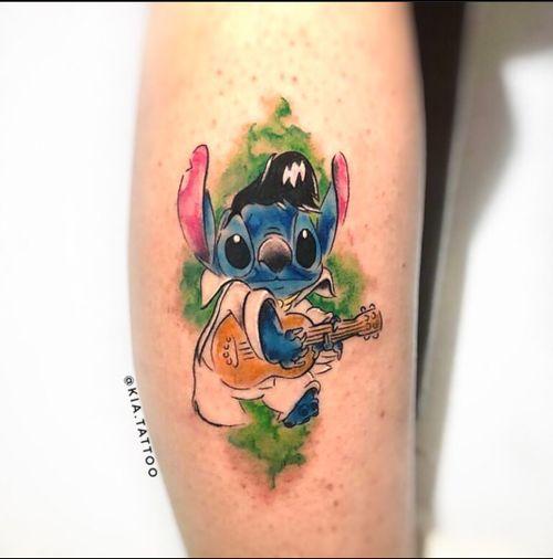 Stitch Presley em aquarela