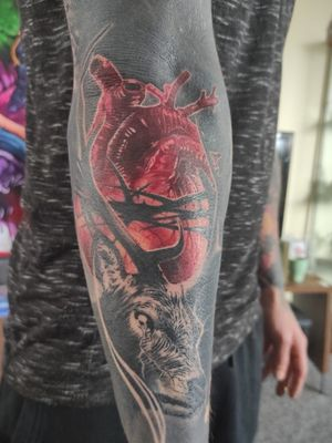 #Deer #Stag #heart #thorns #wildlife #animal #creepy #sleeve #ink #inked #inkedlife #inkedmen #tattoo #relismtattoo #besttattoo #blackouttattoo #blacktattoo #blacktattooart #tattoos #blackandgreytattoos