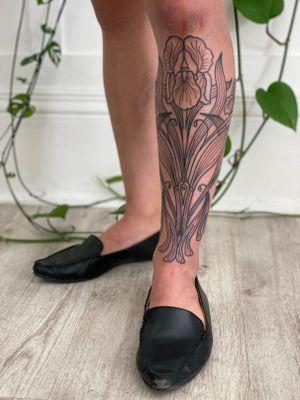 Beginning of art nouveau inspired Iris lower leg sleeve