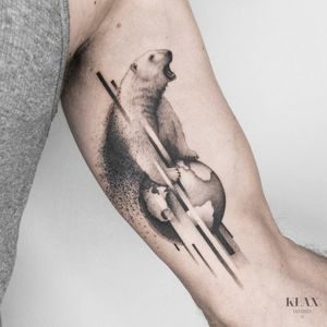 Polar Bear / Earth Tattoo Dotwork