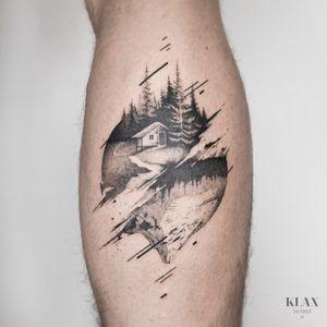 Landscape / Mountain Tattoo Dotwork