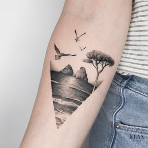 Landscape / Beach Tattoo Dotwork