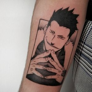 Manga tattoo of Greed from Fullmetal Alchemist. Done while a guest artist at Hooks Ink
