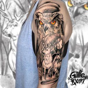 Animales 🐴🦌🦉 Tattoo para @mrb_ginkgo_biloba  Hecho en @whynot.tattoo  Para tatuarte escríbeme a guilleryanarttattoo@gmail.com . . . . #blackworktattoo #woods #deer #owl #horse #sketchtattoo #tattoosbarcelona #custommade #illustrations #tattoodesign #lisbontattoos