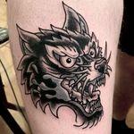 Wolf by Mario #traditionaltattoo #wolftattoo #blackandgrey #armtattoo