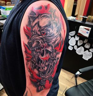 Wolf and skull