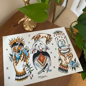 Kat madeira flash traditional tattoo paintings