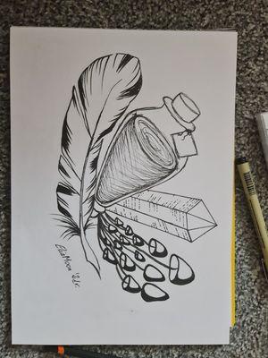 #mushroom #feather #crystal #poison #elixir #illustration #witchcraft