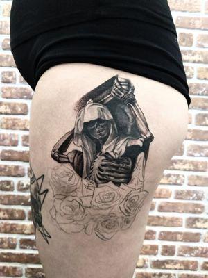 Filling in this reaper tattoo #blackandgrey #reaper #dark