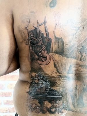 Close up of a back piece im working on, sword of damocles #realism #black and grey #damocles