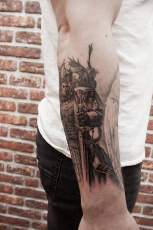 Space marine tattoo, another angle #realism #black and grey #fantasy #warhammer