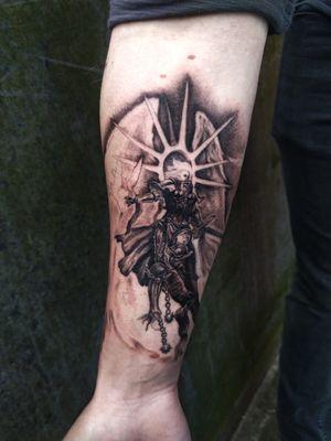 Warhammer tattoo, Saint Celestine #realism #black and grey #fantasy #warhammer