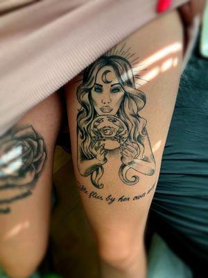 women tattoo #legtattoo#zodiactattoo#crab #crabtattoo #zodiactattoo