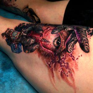 Super fun creepy color tattoo I did.