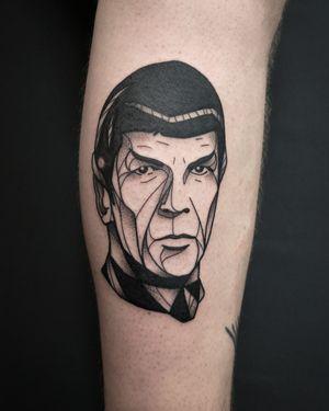 Blackwork Star Trek tattoo of Leonard Nimoy as Mr Spock. Done by Christian Eisenhofer