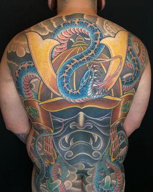 Samurai Snake back piece  #japanese #japanesetattoo #colortattoo #irezumi #backtattoo #fullbacktattoo #samurai #snaketattoo