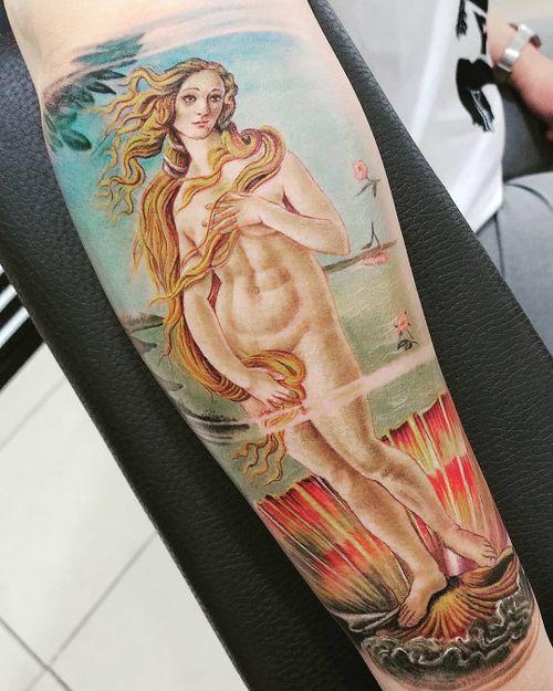 Botticelli  #botticellitattoo #realismtattoo #colortattoo #paintingtattoo #armtattoo