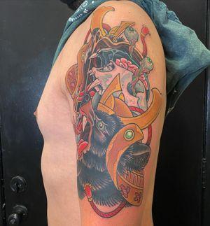 Samurai Bear #japanese #japanesetattoo #colortattoo #irezumi #traditional #armtattoo