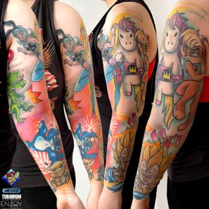 """Cartoon sleeve done with GamerGirl """"Destuction Woman"""".  We will add few symbols on free spaces and sleeve will be finished :)"""