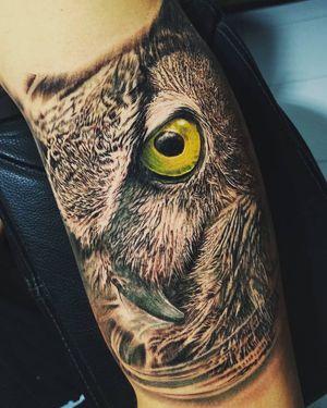 Owl #realismtattoo #owltattoo #eyes #colorrealism #owlportrait #armtattoo